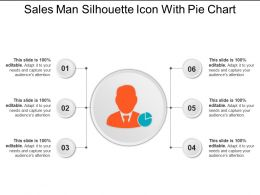Sales Man Silhouette Icon With Pie Chart Ppt Example