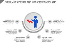 Sales Man Silhouette Icon With Upward Arrow Sign Ppt Example File