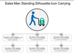 Sales Man Standing Silhouette Icon Carrying Ppt Examples