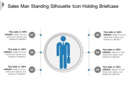 Sales Man Standing Silhouette Icon Holding Briefcase Ppt Icon