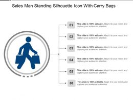 Sales Man Standing Silhouette Icon With Carry Bags Ppt Ideas