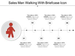 Sales Man Walking With Briefcase Icon Ppt Images