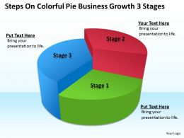 Sales Management Consultant Steps Colorful Pie Business Growth 3 Stages Powerpoint Templates 0527