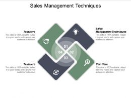 Sales Management Techniques Ppt Powerpoint Presentation Slides Vector Cpb