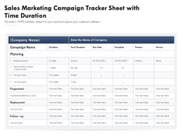 Sales Marketing Campaign Tracker Sheet With Time Duration