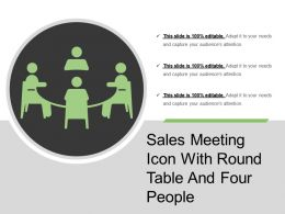Sales Meeting Icon With Round Table And Four People