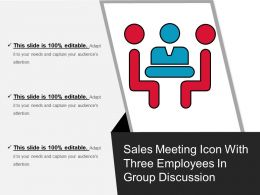 Sales Meeting Icon With Three Employees In Group Discussion