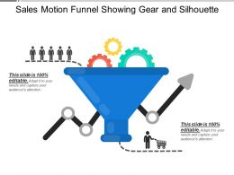 Sales Motion Funnel Showing Gear And Silhouette
