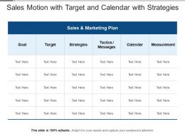Sales Motion With Target And Calendar With Strategies