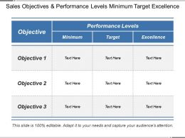 Sales Objectives And Performance Levels Minimum Target Excellence