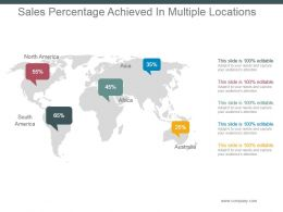 Sales Percentage Achieved In Multiple Locations Powerpoint Slide Show