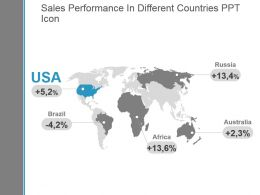 Sales Performance In Different Countries Ppt Icon