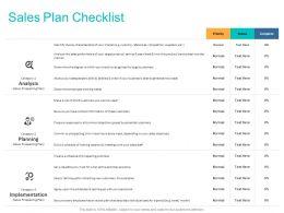 Sales Plan Checklist Ppt Powerpoint Presentation Infographics Inspiration