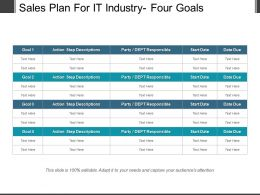 Sales Plan For It Industry Four Goals Powerpoint Graphics