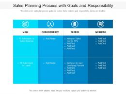 Sales Planning Process With Goals And Responsibility