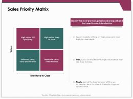 Sales Priority Matrix Early Qualification Ppt Powerpoint Presentation Styles