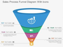 Sales Process Funnel Diagram With Icons Flat Powerpoint Design