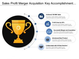 Sales Profit Merger Acquisition Key Accomplishments With Cup And Circles