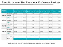 Sales Projections Plan Fiscal Year For Various Products