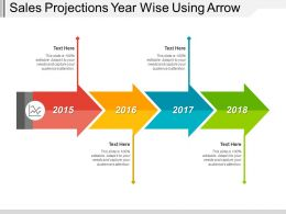 Sales Projections Year Wise Using Arrow