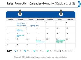 Sales Promotion Calendar Monthly Option Events Ppt Powerpoint Presentation Professional Deck