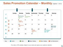 Sales Promotion Calendar Monthly Option Planning Ppt Show Infographic Template