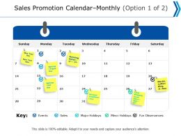 Sales Promotion Calendar Monthly Option Ppt Powerpoint Presentation Professional Backgrounds