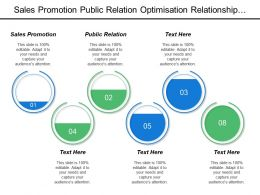 Sales Promotion Public Relation Optimisation Relationship Manager Productive