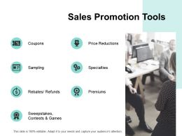 Sales Promotion Tools Specialties Ppt Powerpoint Presentation File Good