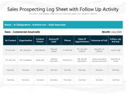 Sales Prospecting Log Sheet With Follow Up Activity