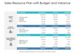 Sales Resource Plan With Budget And Variance