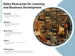 Sales Resources For Learning And Business Development