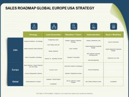 Sales Roadmap Global Europe USA Strategy Stack Ppt Powerpoint Presentation Inspiration