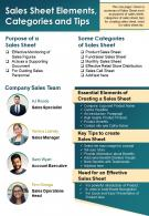 Sales Sheet Elements Categories And Tips Presentation Report Infographic PPT PDF Document