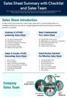Sales Sheet Summary With Checklist And Sales Team Presentation Report Infographic PPT PDF Document
