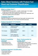 Sales Sheet Summary With Product Fact Sheet And Customer Classification Report Infographic PPT PDF Document