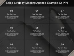 Sales Strategy Meeting Agenda Example Of Ppt