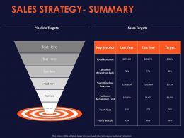 Sales Strategy Summary Ppt Powerpoint Presentation Slides Example Topics