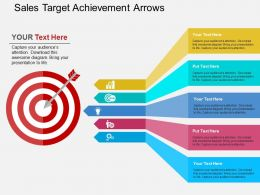 Sales Target Achievement Arrows Flat Powerpoint Design