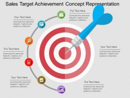 Sales Target Achievement Concept Representation Flat Powerpoint Design