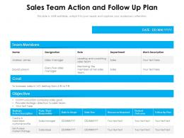 Sales Team Action And Follow Up Plan