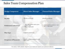 Sales Team Compensation Plan Design Component Direct Sales Manager