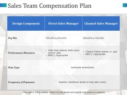 Sales Team Compensation Plan Direct Sales Manager Plan Type