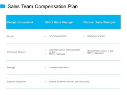 Sales Team Compensation Plan Performance Measures E345 Ppt Powerpoint Presentation