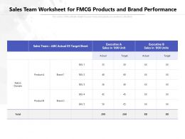 Sales Team Worksheet For FMCG Products And Brand Performance
