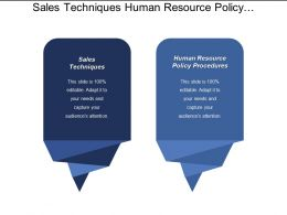 Sales Techniques Human Resource Policy Procedures Marketing Plan