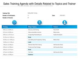 Sales Training Agenda With Details Related To Topics And Trainer