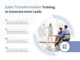 Sales Transformation Training To Generate More Leads