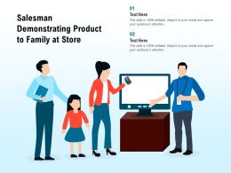 Salesman Demonstrating Product To Family At Store