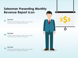 Salesman Presenting Monthly Revenue Report Icon